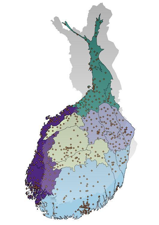 Karttakuva: väestöpainotetut maakunnat